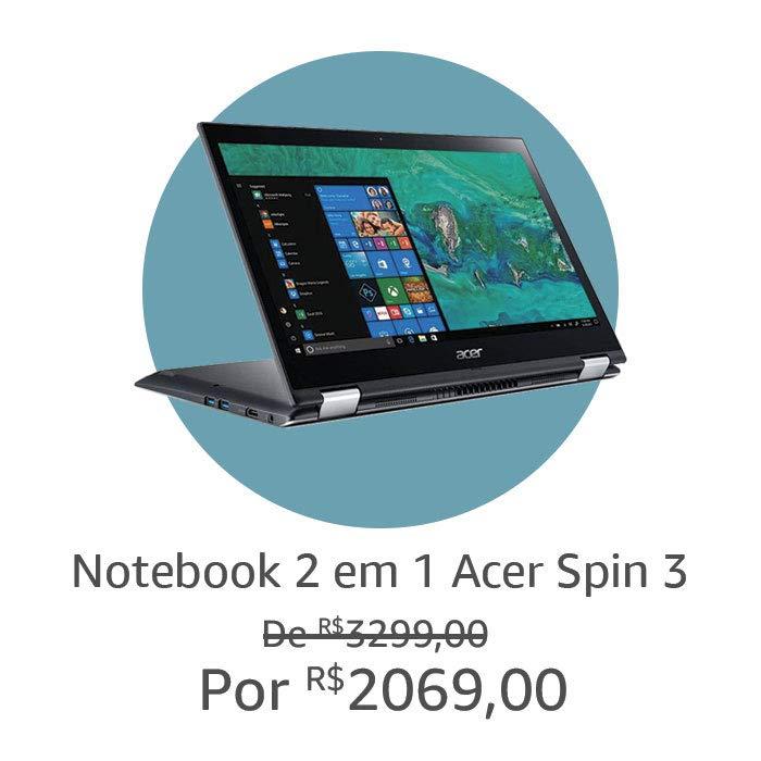 """Notebook Acer 2 em 1, tela 14"""""""