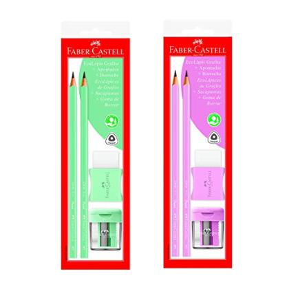 Combo Pastel Faber-Castell Ecolápis+Apontador+Borracha