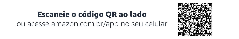 Escaneie o código QR ao lado ou acesse amazon.com.br/app no seu celular