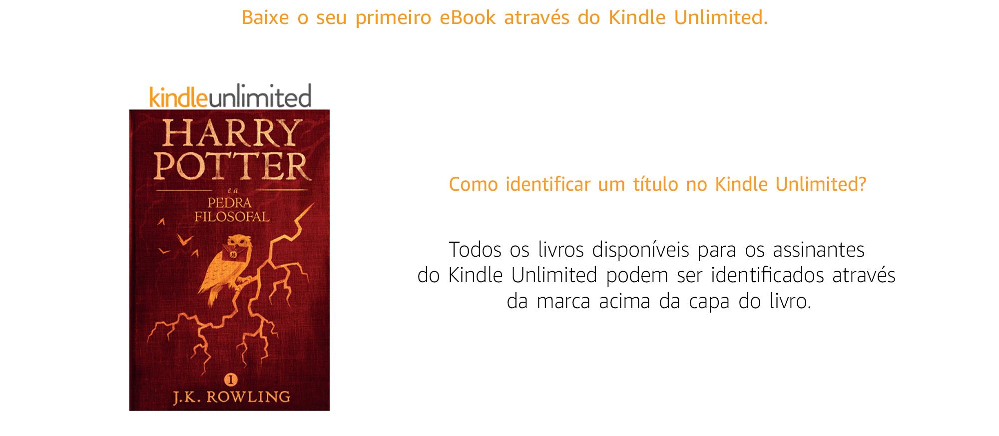 Todos os títulos disponíveis pra os assinantes do Kindle Unlimited podem ser identificados através da marca acima da capa do livro.