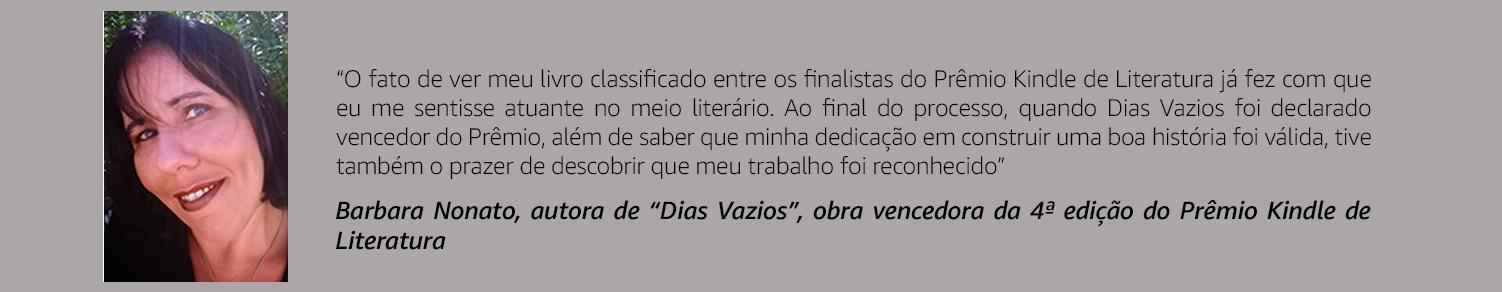 Barbara Nonato - Vencedora da 4ª edição do Prêmio Kindle de Literatura
