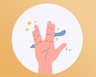 O símbolo do Star Trek feito com a mão.
