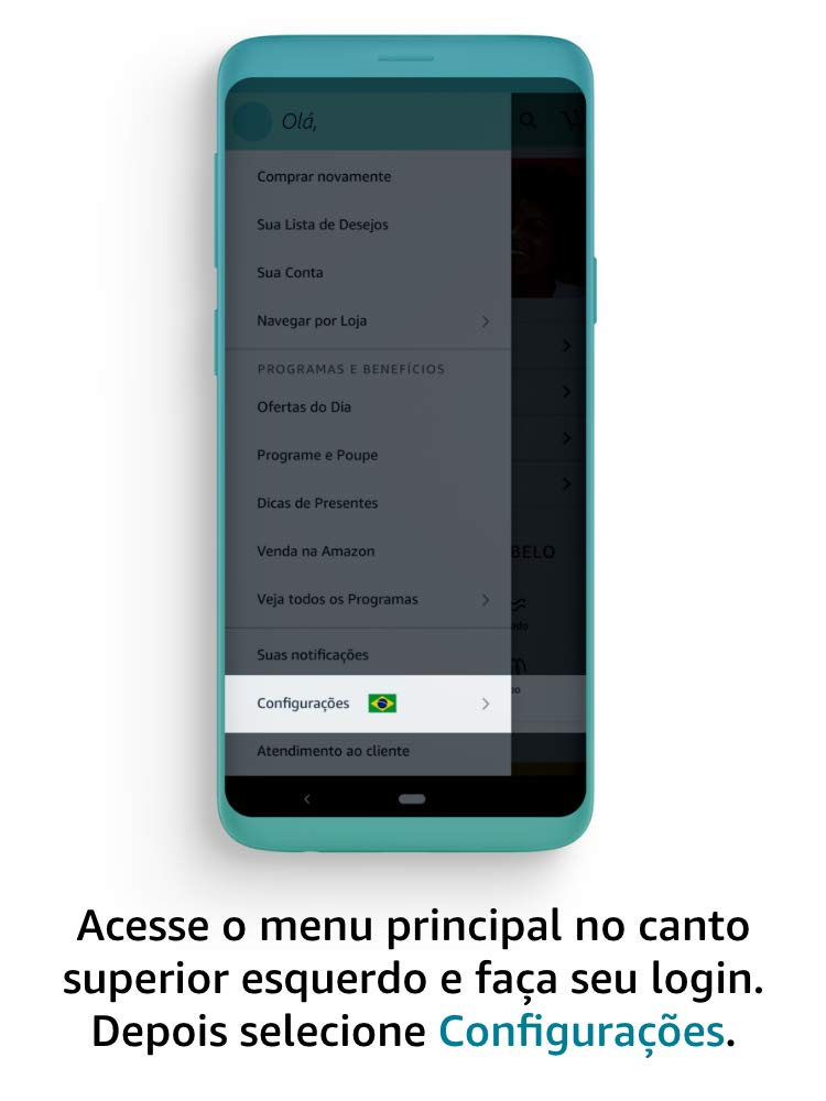 Acesse o menu principal no canto superior esquerdo e faça seu login. Depois selecione Configurações.