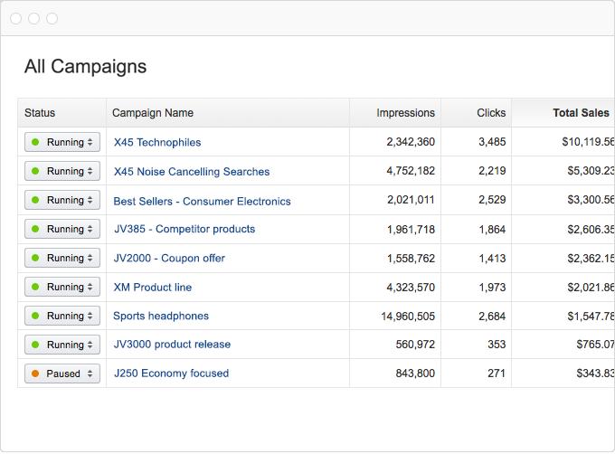 Una tabla que muestra el estado y los puntos de datos para las campañas de Amazon Marketing Services