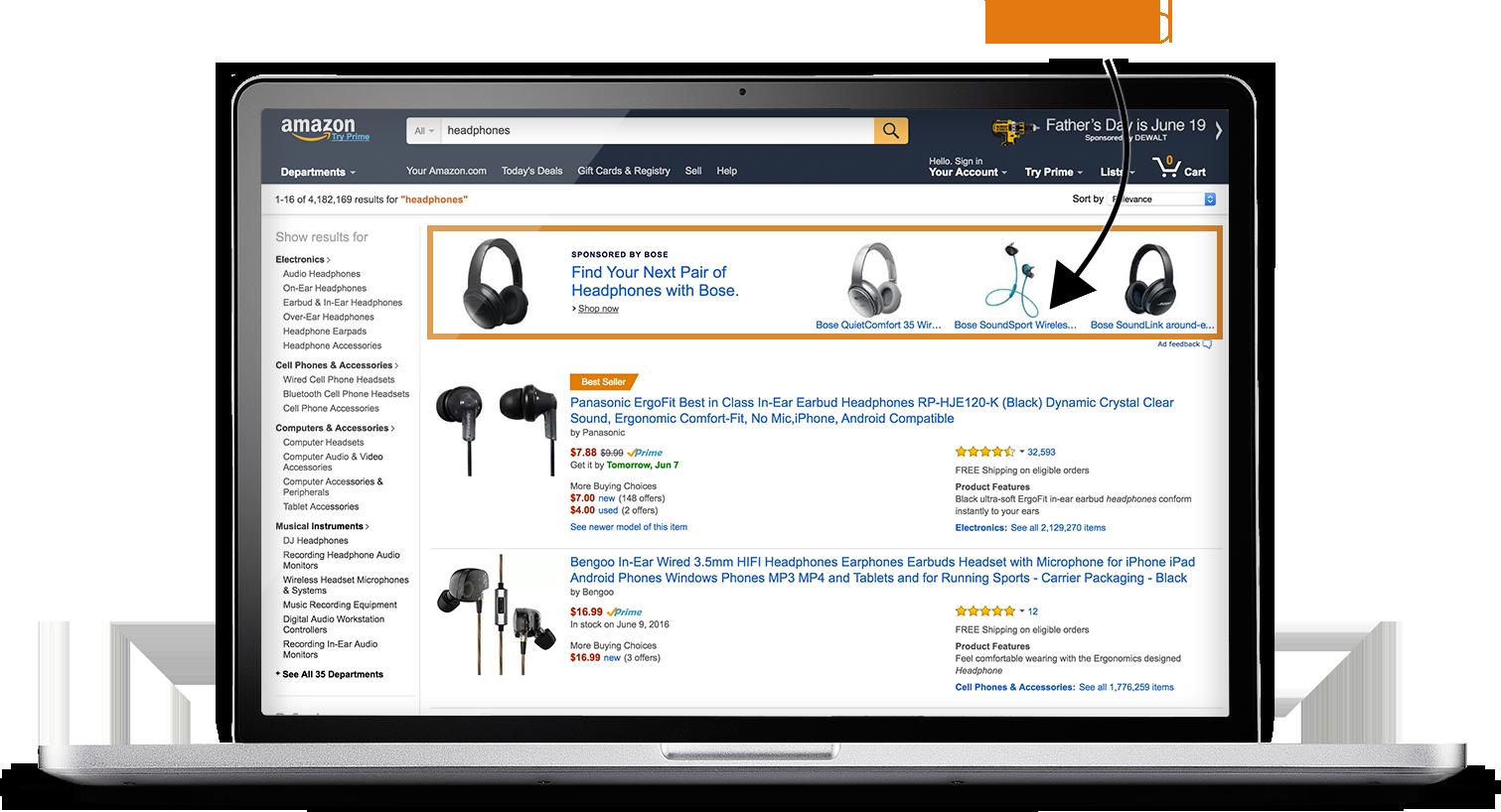 Un Anuncio de Búsqueda en títulos se encuentra entre los resultados de búsqueda más importantes de Amazon con los auriculares Bose