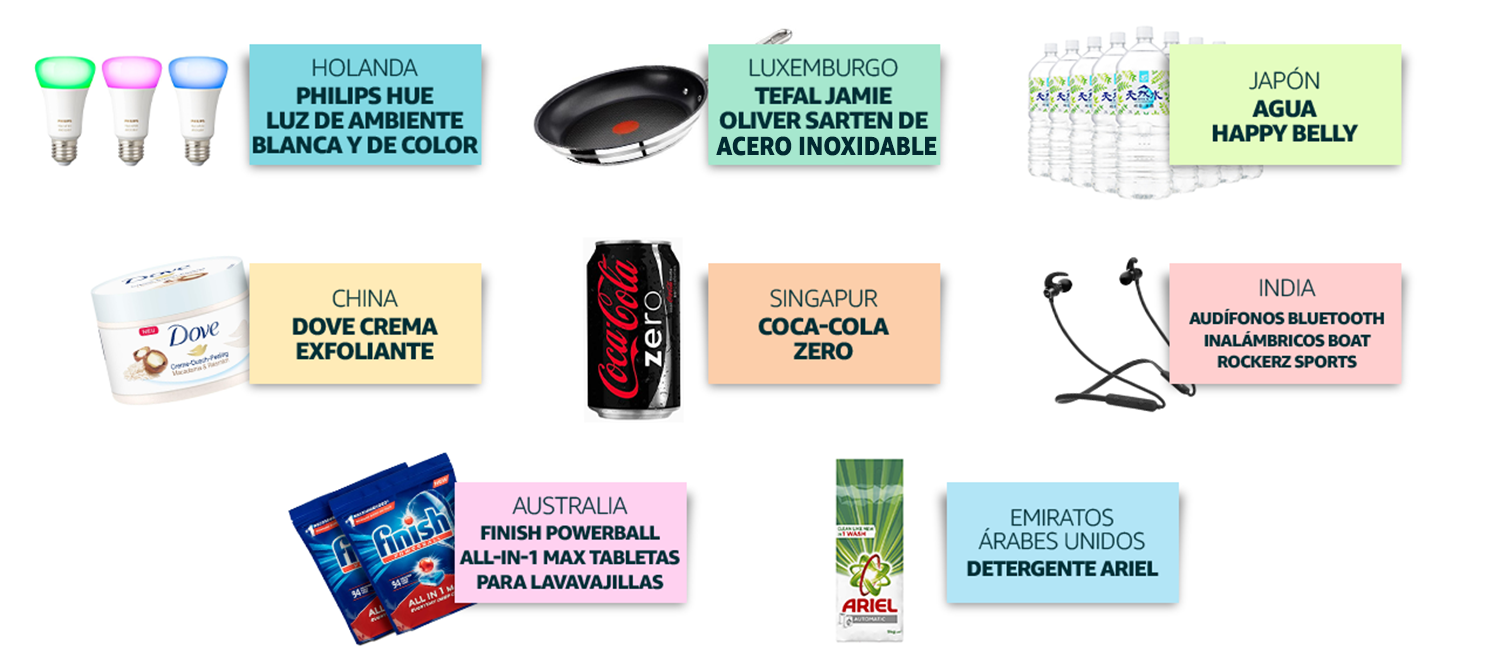 Holanda: Philips Hue, Luxemburgo: T-Fal Jamie Oliver, Japón: Agua Happy Belly