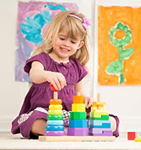 classic toy, wooden, toddler, color, shapes, triple stacker, boys, girls