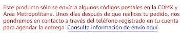 Este producto solo puede enviarse a ciertos códigos postales dentro de la Ciudad de México. Consulta información de envío