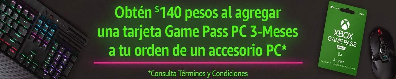 Obten $140 al agregar una tarjeta Game Pass PC a tu orden de un accesorio seleccionado de PC