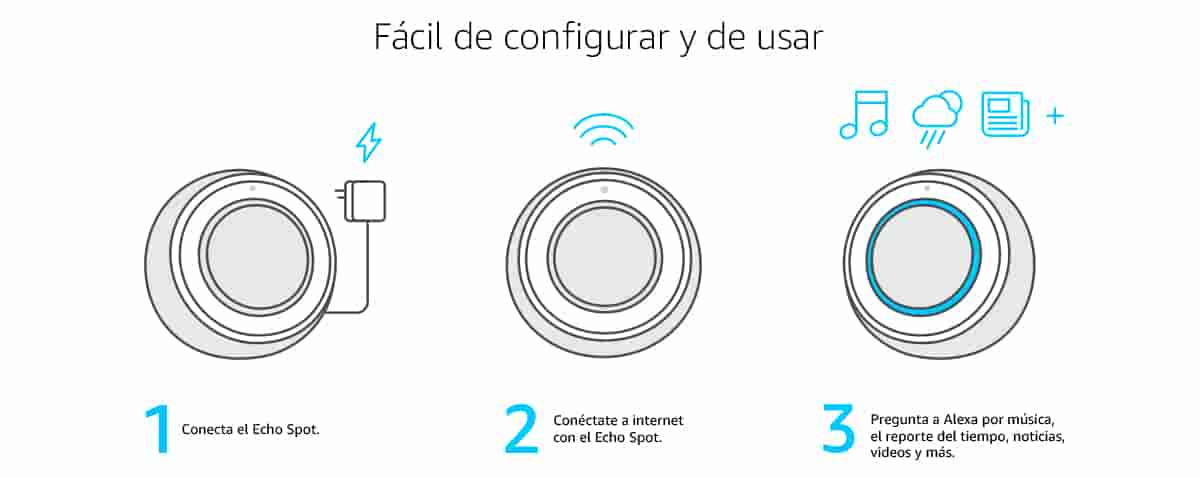 1. Conecta el Echo Spot | 2. Conéctate a internet con el Echo Spot | 3. Pregunta a Alexa por música, el reporte del tiempo, noticias, videos y más