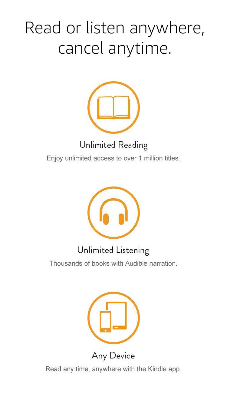 Read or listen anywhere, cancel anytime. Unlimited Reading: Enjoy unlimited access to over 1 million titles. Unlimited Audiobooks: Listen to thousand of books with Audible narration. Any Device: Read anytime, on any device, with the Kindle App.
