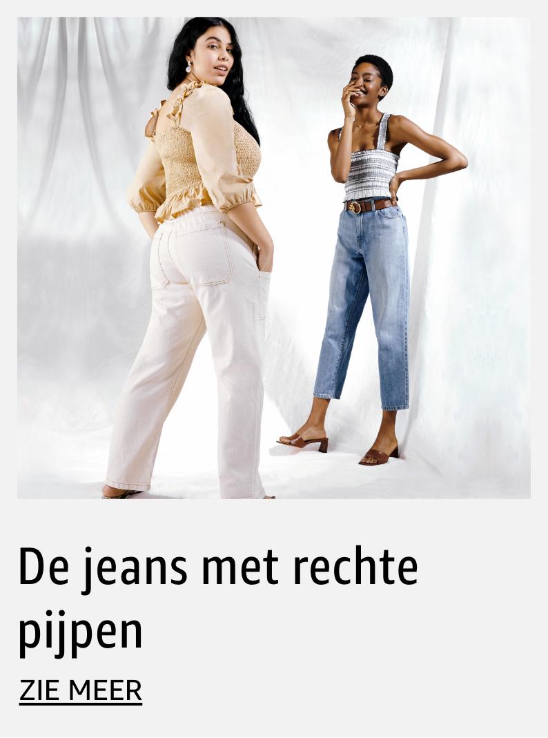 De jeans met rechte pijpen