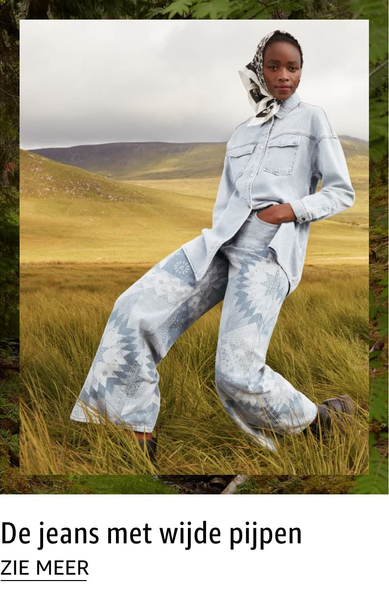 De jeans met wijde pijpen