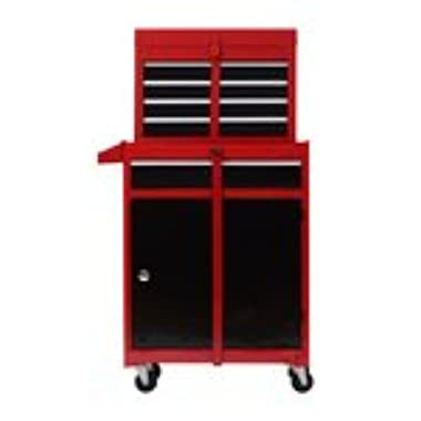 HomCom Rolling Tool Cabinet Chest with 5 Drawers and Removable Tool Box - Red and Black