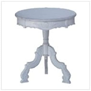 Shabby Elegance Distressed White Rococo Accent Table by Furniture Creations