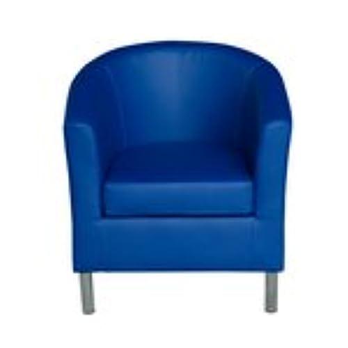 HomCom Modern PU Leather Tub / Barrel Club Arm Seat Chair   Blue