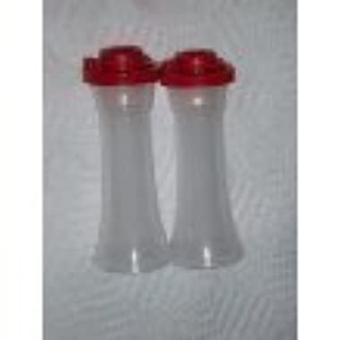 Tupperware Large Hourglass Salt and Pepper with Red Seals