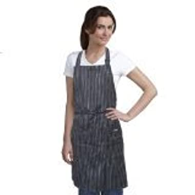 ProChef Premium Bib Apron with Pockets for Women and Men - Stylish Black Apron with White Pinstripe 27 in x 31.5 in
