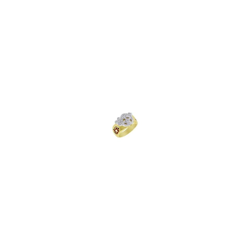 ZALES Diamond Masonic Ring in 10K Two Tone Gold Mens 1/2