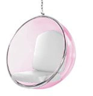 Designer Modern Bubble Hanging Chair Pink Acrylic (White)