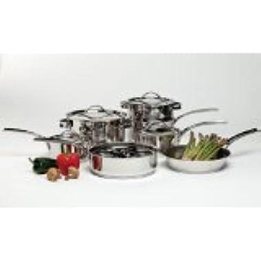 Gordon Ramsay by Royal Doulton 42285911a Maze 11-Piece Cookware Set with Bonus Egg Poacher