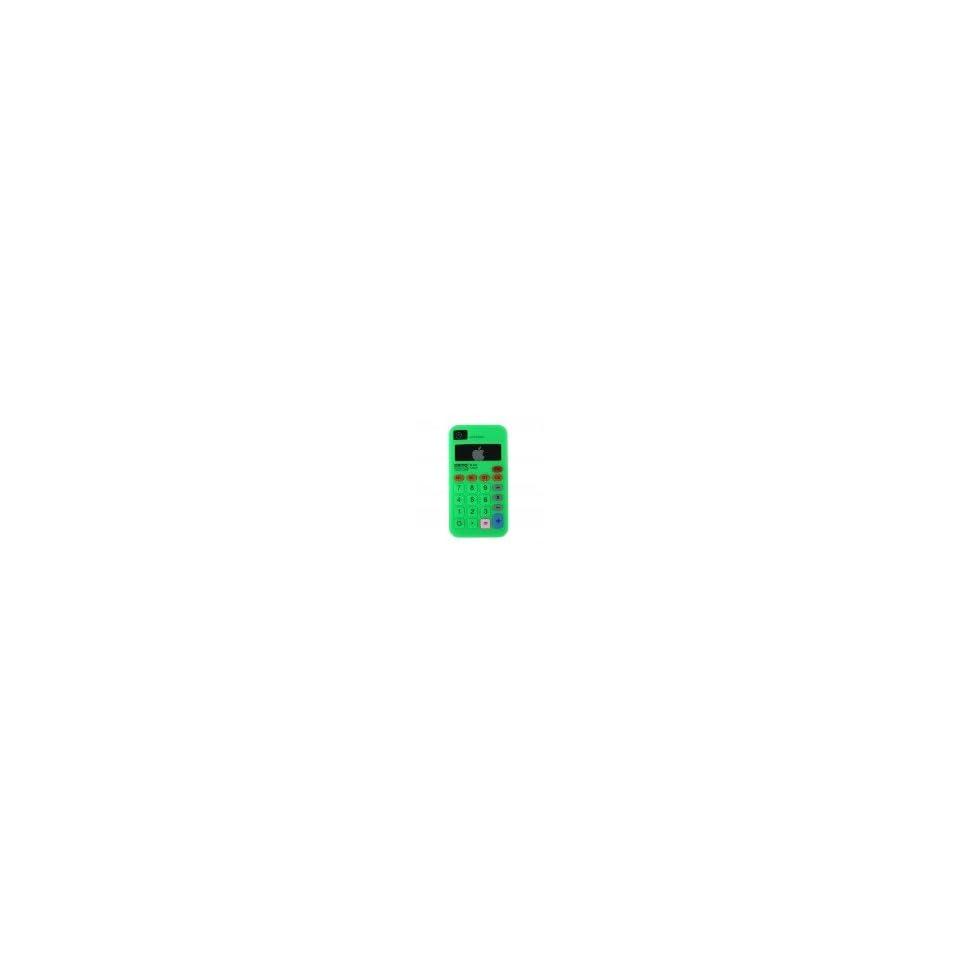 Green Calculator Design Soft Silicone Skin Gel Cover Case for Verizon Att Sprint Iphone 4 4S + Microfiber Pouch Bag