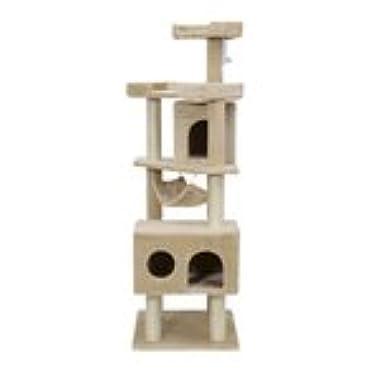 Pawhut Cat Tree Scratcher Post Condo with Hammock, 65 Inch, Beige