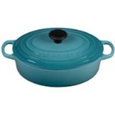 Le Creuset of America Signature Enameled Cast Iron Oval Wide Dutch Oven, 3.5-Quart, Caribbean