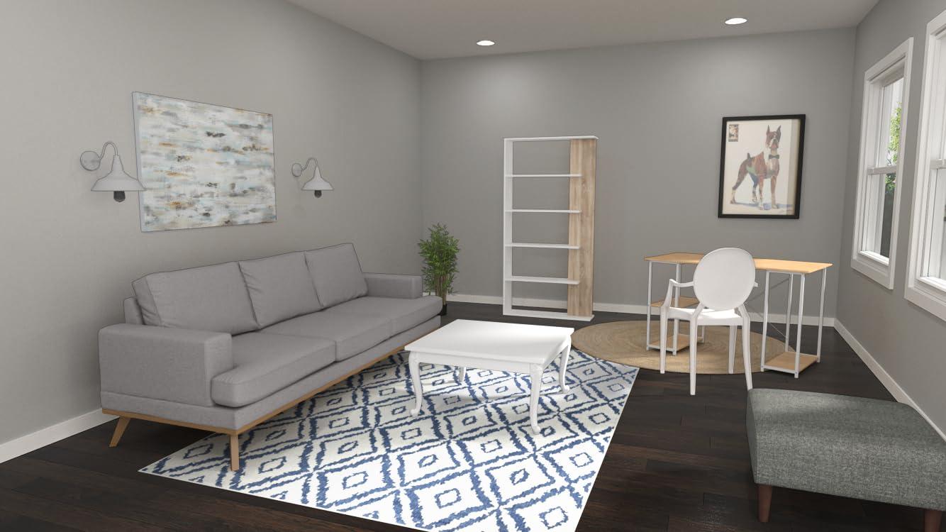 Sala de estar suburbana con espacio de trabajo