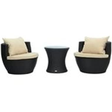 Outsunny 3-Piece Outdoor Stacking Rattan Wicker Patio Chair Set