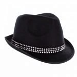 Unisex Black Trilby Hat With Gemstones by Party On Fancy Dress
