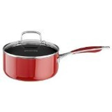 KitchenAid KCA30PLER Aluminum Nonstick 3.0-Quart Saucepan with Lid Cookware - Empire Red