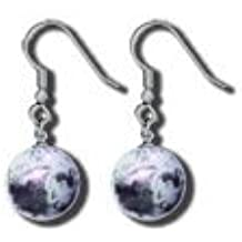 Earrings, Moon Marbles, Geographically Accurate Crates and Mares, Silver Findings, Half Inch Diameter