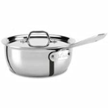 All-Clad 440265 Stainless Steel Tri-Ply Bonded Dishwasher Safe Weeknight Pan with Lid/Cookware, 2.5-Quart, Silver