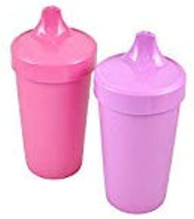 product image for Re-Play MADE IN USA 2pk Toddler Feeding No Spill Sippy Cups   1 Piece Silicone Easy Clean Valve   Eco Friendly Heavyweight Recycled Milk Jugs are Virtually Indestructible   Purple,Bright Pink