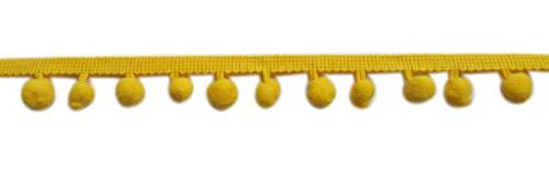XiXiboutique 18 Yards Ball Fringe Pom Pom Trim Ribbon Sewing(Pom Ball Size 10mm,Bright Yellow)]()