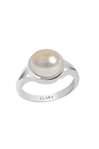 Clara Certified Pearl (Moti) 6.5cts or 7.25ratti Zoya Silver Ring 6