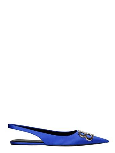 Balenciaga Women's 566651W0wm04130 Blue Leather Flats