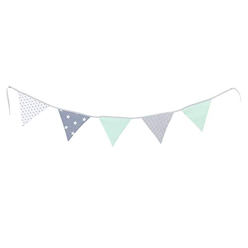 Banner 100% Cotton - 100% Cotton Fabric Bunting Flag Garland Pennant Banner by ULLENBOOM | Star/Checkered | Baby Shower/Party/Nursery | 6 Ft - Unisex Mint/Grey