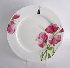 Ciroa Pink Poppy Porcelain Dinner Plates 11 3/8