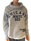 Chicago White Sox Sweatshirt - Chicago White Sox SAAG Women Gray Slub Neck Hoodie Sweatshirt (S)