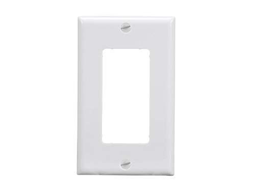 Monoprice 1-Gang Dcor Wall Plate - White for Home,Office, Personal - Wall Dcor Plate