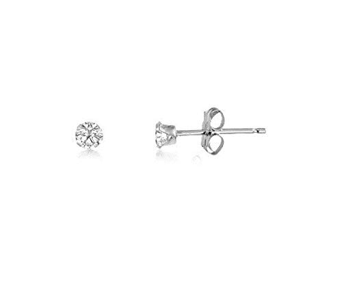 honjejewelry Stud Earrings Round Sterling Clear White cz April Birthstone for Women 1 Pair (2mm - Baby)