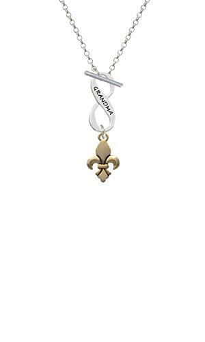 Goldtone Fleur de Lis Grandma Infinity Toggle Chain Necklace ()
