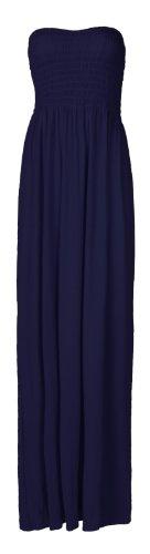 Fast Fashion - Plaine Boobtube Elastique Cisaillement Arc Maxi - Femme (36/38, Marine)