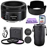 Canon 50mm f/1.8 STM Camera Fixed Lens. PagingZone Deluxe Kit Includes, 3Piece Filter Set + Lens Case + Lens Hood + 32GB Class 10 Card. For EOS 6D, 70D, 5D MK II III, Rebel T3, T3i, T4i, T5, T5i, SL1.
