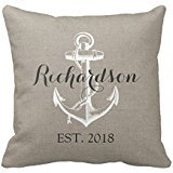 Decors Rustic Vintage Anchor Wedding Monogram Pillow Case Cushion Cover Home Sofa Decorative 18 X 18 Squares (Twin Sides)