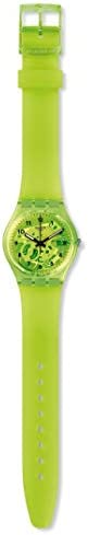 Swatch Gent Lacquered Swiss Quartz Silicone Strap, Green, 16 Casual Watch (Model: GG227)