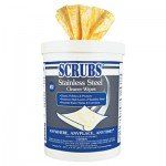 Stainless Steel Cleaner Towels, 9 3/4 x 10 1/2, 70 Wipes/Pack (5 Pack)