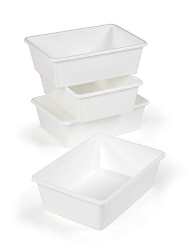 Tot Tutors XL688 Large Plastic Storage Bins, Set of 4 (White)